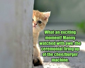 What an exciting moment! Manny watched with awe: the ceremonial firing up of the cheezburger machine.