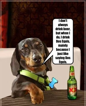 I don't always drink beer, but when I do, I drink Dos Equis, mainly because I just like saying Dos Equis.