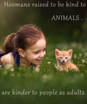 Hoomans raised to be kind to ANIMALS . .   are kinder to people as adults.