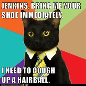 JENKINS, BRING ME YOUR SHOE IMMEDIATELY.  I NEED TO COUGH                                              UP A HAIRBALL.