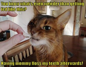 You know what's even weirder than getting fed like this?  Having mommy floss my teeth afterwards!