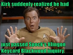 Kirk suddenly realized he had  just passed Spock's Klingon Keycard Blackwood inquiry.
