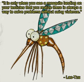 """It is only when you see a mosquito landing on your testicles that you realize there is always a way to solve problems without using violence."""