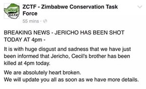 Cecil's brother Jerico shot dead by poachers.