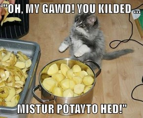 """OH, MY GAWD! YOU KILDED ...  MISTUR POTAYTO HED!"""
