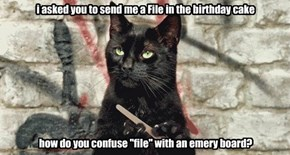 "i asked you to send me a File in the birthday cake           how do you confuse ""file"" with an emery board?"
