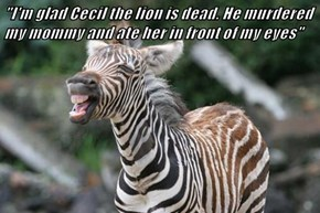 """I'm glad Cecil the lion is dead. He murdered my mommy and ate her in front of my eyes"""