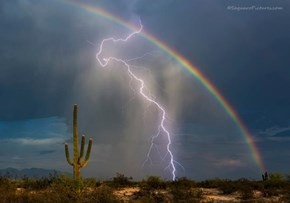 Picture of the Day: Lightning and a Rainbow Finally Fight for Celestial Dominance