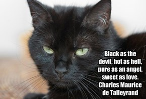 Black as the devil, hot as hell, pure as an angel, sweet as love. Charles Maurice de Talleyrand