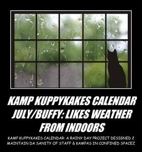 KAMP KUPPYKAKES CALENDAR JULY/BUFFY: LIKES WEATHER FROM INDOORS
