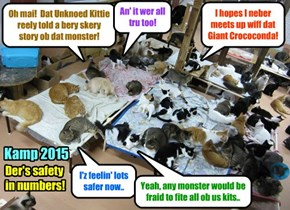 Kamp 2015: After all teh skary stories dat wer told at teh Marshmellow Roast following teh Pool Partee, many ob teh Kampers slept togevver in teh same room so dey would feel safer!