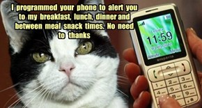 I  programmed  your  phone  to  alert  you  to  my  breakfast,  lunch,  dinner and  between  meal  snack  times.  No  need   to   thanks