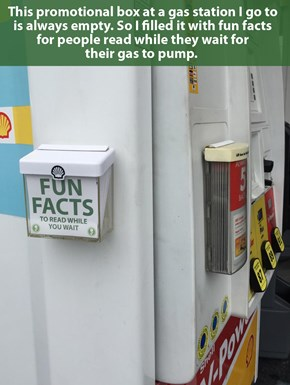 Why Not Learn a Few Facts While Pumping Gas?