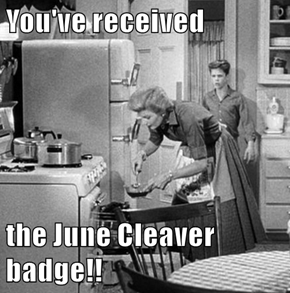You've received  the June Cleaver badge!!