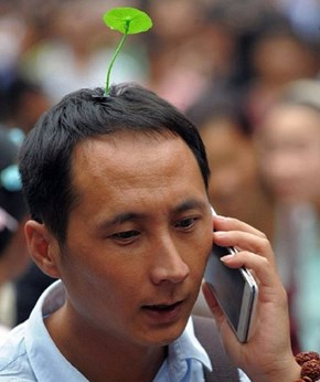 Chinese Trend of the Day: It's Totally Cool to Have a Sprout Growing Out of Your Hair