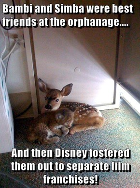 Bambi and Simba were best friends at the orphanage....  And then Disney fostered them out to separate film franchises!