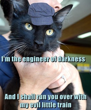 I'm the engineer of darkness And I shall run you over with my evil little train