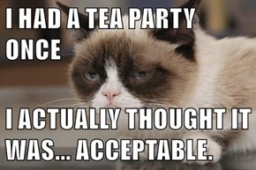 I HAD A TEA PARTY ONCE  I ACTUALLY THOUGHT IT WAS... ACCEPTABLE.