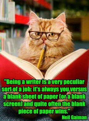"""Being a writer is a very peculiar sort of a job: it's always you versus a blank sheet of paper (or a blank screen) and quite often the blank piece of paper wins."""