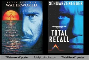 """Waterworld"" poster Totally Looks Like ""Total Recall"" poster"