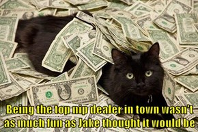 Being the top nip dealer in town wasn't as much fun as Jake thought it would be