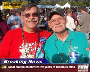 Breaking News - Local couple celebrates 29 years of fabulous bliss