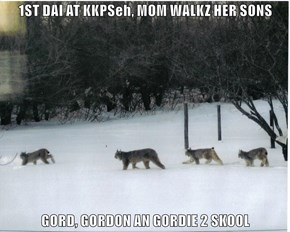 1ST DAI AT KKPSeh, MOM WALKZ HER SONS  GORD, GORDON AN GORDIE 2 SKOOL