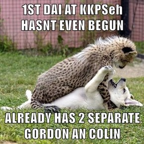 1ST DAI AT KKPSeh             HASNT EVEN BEGUN   ALREADY HAS 2 SEPARATE GORDON AN COLIN
