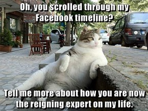 Oh, you scrolled through my Facebook timeline?  Tell me more about how you are now the reigning expert on my life.
