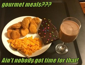 gourmet meals???  Ain't nobody got time for that!