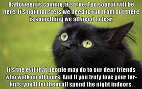 Halloween is coming, it's true. Too soon it will be here. It's not monsters we need to run from but there is something we all need to fear.   It's the evil that people may do to our dear friends who walk on all fours. And If you truly love your fur-kids,