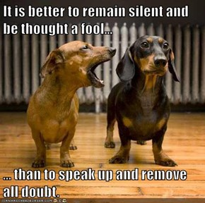 It is better to remain silent and be thought a fool...  ... than to speak up and remove all doubt.