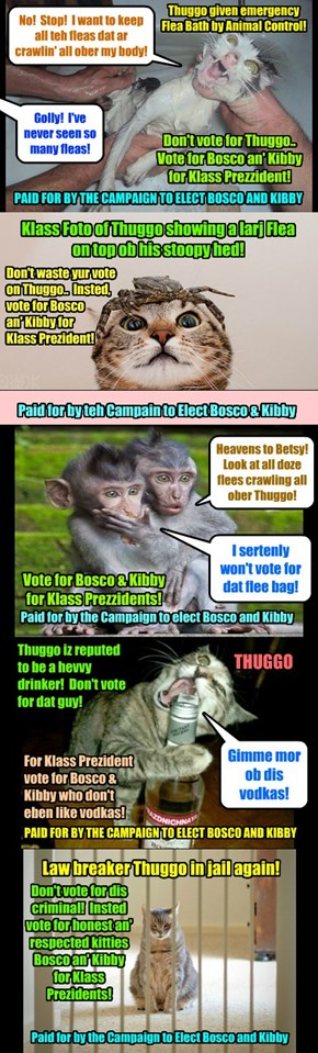 Teh KKPS Klass Prezzident Campaign heats up! After teh scandalous Animal Control insident wher Thuggo wer giben a Flea Bath, Bosco an' Kibby came owt wiff several hard hitting Campaign Ads dat Thuggo sez are a pack ob lies!