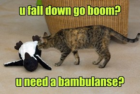 u fall down go boom?     u need a bambulanse?