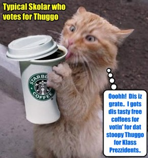 KKPS Fall 2015: Even tho Bosco an' Kibby hab several powerful Campain Ads tellin' Skolars not to vote for Thuggo for Klass Prezident, nevertheless som Skolars continue to vote for dat guy!