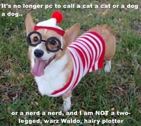 It's no longer pc to call a cat a cat or a dog a dog..  or a nerd a nerd, and I am NOT a two-legged, warz Waldo, hairy plotter
