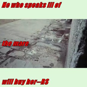He who speaks ill of the mare will buy her--RS