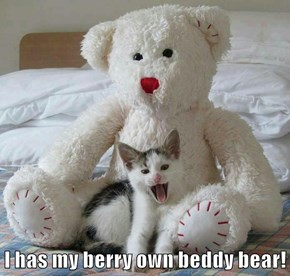 I has my berry own beddy bear!