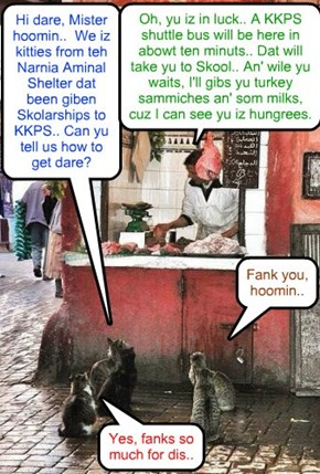 KKPS 2015 - On the way to Skool.. As teh Skool Year iz abowt to commense, not too far from teh KKPS Kampus, we find dis poignant scene..