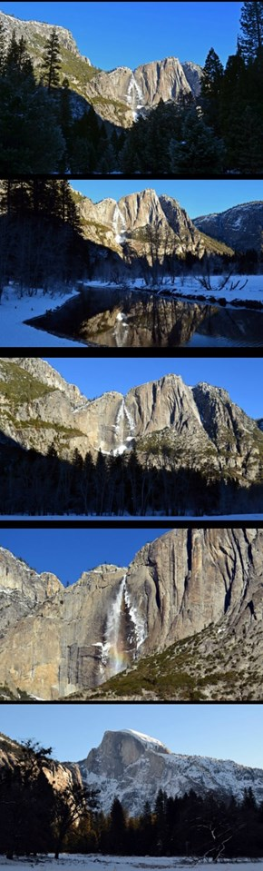 Lots of Yosemite Falls and a Half Dome finale.  Jan 2016