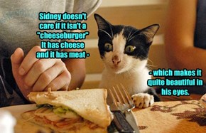 """Sidney doesn't care if it isn't a """"cheeseburger""""  It has cheese and it has meat -"""
