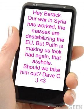 David Cameron txt to Obama
