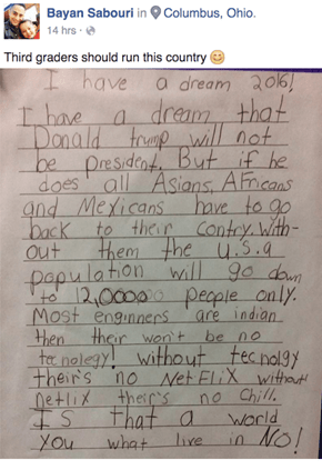 Read How a Third-Grader Thinks Nexflix and Chill Will Dissuade People From Voting For Donald Trump