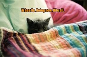 Ai has flu. Going now. Nite all.