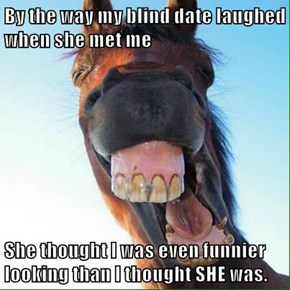 By the way my blind date laughed when she met me  She thought I was even funnier looking than I thought SHE was.