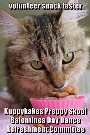 volunteer snack taster  Kuppykakes Preppy Skool Balentines Day Dance Refreshment Committee