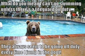 What do you mean I can't go swimming unless there's a lifeguard on duty...  They always seem to be going off duty every time I jump in the pool!