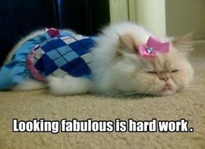Looking fabulous is hard work .