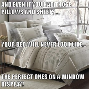 AND EVEN IF YOU HAD THOSE PILLOWS AND SHEETS.... YOUR BED WILL NEVER LOOK LIKE... THE PERFECT ONES ON A WINDOW DISPLAY!