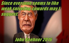 Since everyone seems to like weak sniveling cowards may I suggest:                    John Boehner 2016